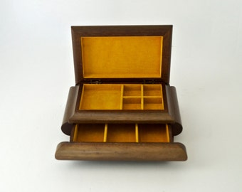 Vintage Jewelry Box Chunky Wood Jewelry Chest with Mustard Velvet Lining