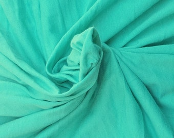 """Mint Cotton Fabric Jersey Knit by the Yard 63"""" W 6/16"""