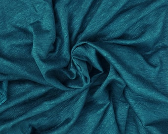 """100% Linen JERSEY Knit Fabric By Yard Teal Pre Washed 48""""W 12/15"""