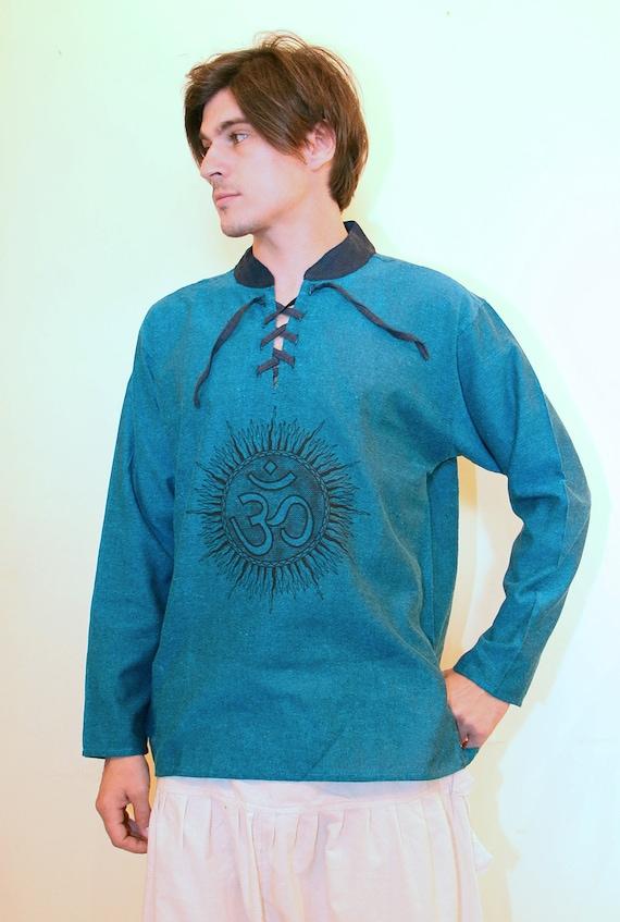 Men 39 S Long Sleeve Oum Shirt Ethnic Kurta Hippie Wear