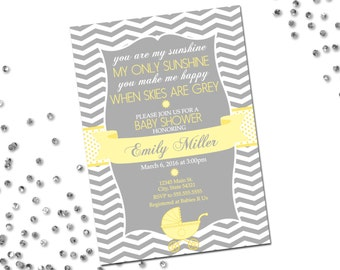 You Are My Sunshine Baby Shower Invitation - Chevron Stripes - Grey and Yellow - Classic Layout - Printable
