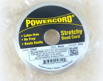 Elastic .8mm - Elastic Cord - PowerCord Beading Elastic - .8mm thickness - 25 meters/roll