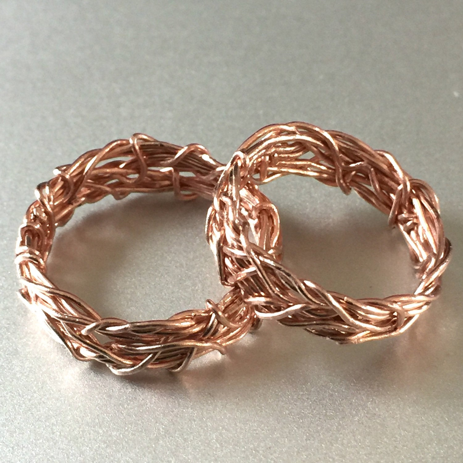 Solid 14K Rose Gold His and Hers Wedding Rings Men s