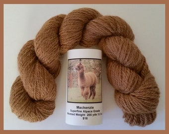 Alpaca Yarn Dark Fawn Worsted 3 oz. Superfine