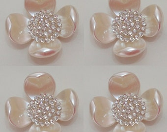 4 Flat Back Pearl Button Pearl Flower Tray, Rhinestone Pearl Button (40x40mm) My442-01