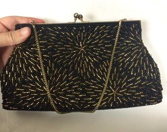 50's Beaded Evening Bag black and bronze beads