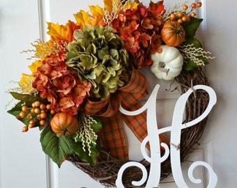 Fall Door Wreath,Wreath for Door,Autumn Wreath,Wreaths for Fall,Fall Wreath,Monogrammed Grapevine Wreath,Rustic Fall Wreath,Rusty Leaves