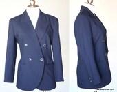 90s Vintage Courreges Navy Blue Blazer Suit Jacket Medium Large
