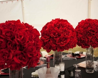 SALE Beautiful Big Red Rose Ball Centerpieces & Alter Stands Wedding Flowers banquet