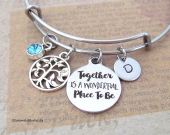 Together is a wonderful place to be Family Tree Personalized Hand Stamped Initial Birthstone Family Stainless Steel Expandable Bangle