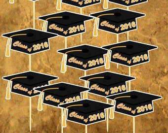 12 Graduation Cupcake toppers - 2016 Graduation - You Did it - Class of 2016 Cupcake toppers