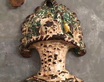 Antique Hubley Flower Basket doorstop or bookend