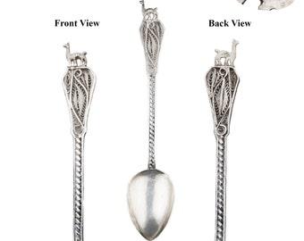Antique Llama Filigree Set of Nine (9) Silver 925 Demitasse Spoons