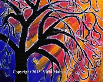 Wall Art, 8x10 Art, Fanciful art, Fantasy Art, Tree Art, Colorful art, Imaginative Art, Whimsical Art, Tree Print, butterfly Item # VTP-2015