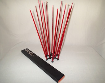 """Dansk Candles Spider Tiny Taper Holder by Jens Quistgaard With 2 boxes of 15"""" Hand dipped Tiny Taper candles in red and gold."""