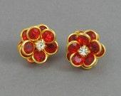 Vintage AVON Red 'Faceted Petals' Pierced Earrings (1993). Red Flower Earrings. Avon Flower Earrings. Vintage Avon Earring