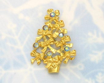 Vintage Christmas Tree Pin. AVON Aurora Borealis Rhinestone Christmas Tree Brooch (1992). Avon Holiday Jewelry. Vintage Avon Brooch