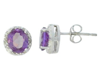 Alexandrite & Diamond Round Stud Earrings .925 Sterling Silver