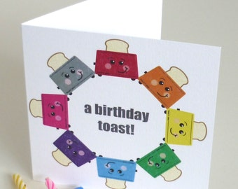 Birthday Card with Toaster Design