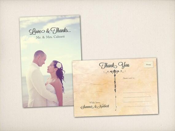 "Thank You Wedding Postcard, Modern Vintage, Elegant Floral Script 4"" x 6"" Photo PRINTS (TQ4)"