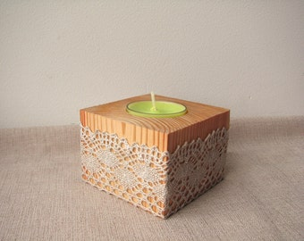 Rustic Wedding Centerpiece, Wood Candle Holder, Table Decor