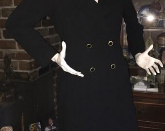 KASPER for ASL Vintage Elegant Black Long Suit Dress Jacket Enveloped Coat Size 12