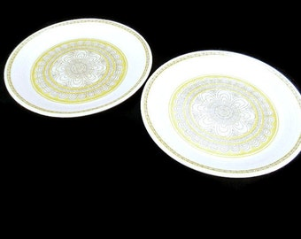 Vintage Franciscan Hacienda Gold Salad Plates * Set of 2 * Mod Flower Power