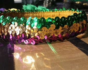 Purple, green, gold mardi gras headband