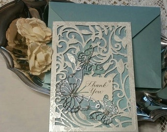 Handmade greeting card. Matching envelope. Thank you card.
