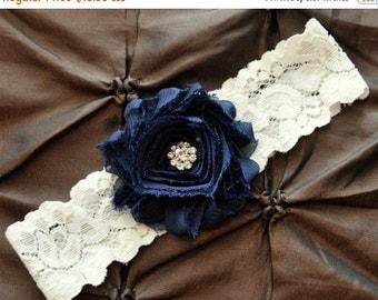 SALE Wedding Garter, Bridal Garter - Ivory Lace Garter, Toss Garter, Shabby Chiffon Navy Blue, Something Blue, Navy Garter, Wedding Garter B