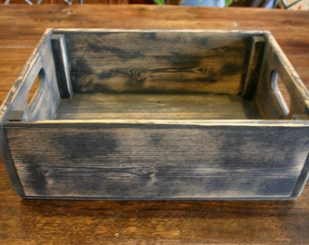 Handmade Reclaimed Wood Crate.  Distressed Barnwood Crate. Wood Storage Box.