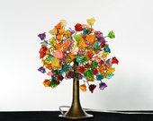 Multicolored Roses Table lamp with metal wires, small table lamp, colorful flowers lighter.