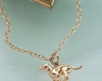 Running Greyhound Pendant in Sterling Silver with 9ct Gold Vermeil.