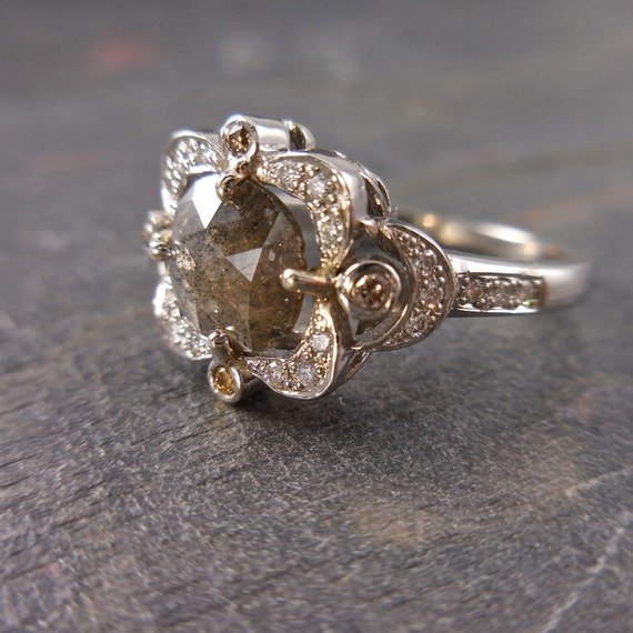 RESERVED for Christine - Grey Diamond Ring - cushion rose cut diamond  engagement ring, delicate