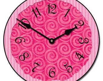 Hot Pink Swirls Wall Clock