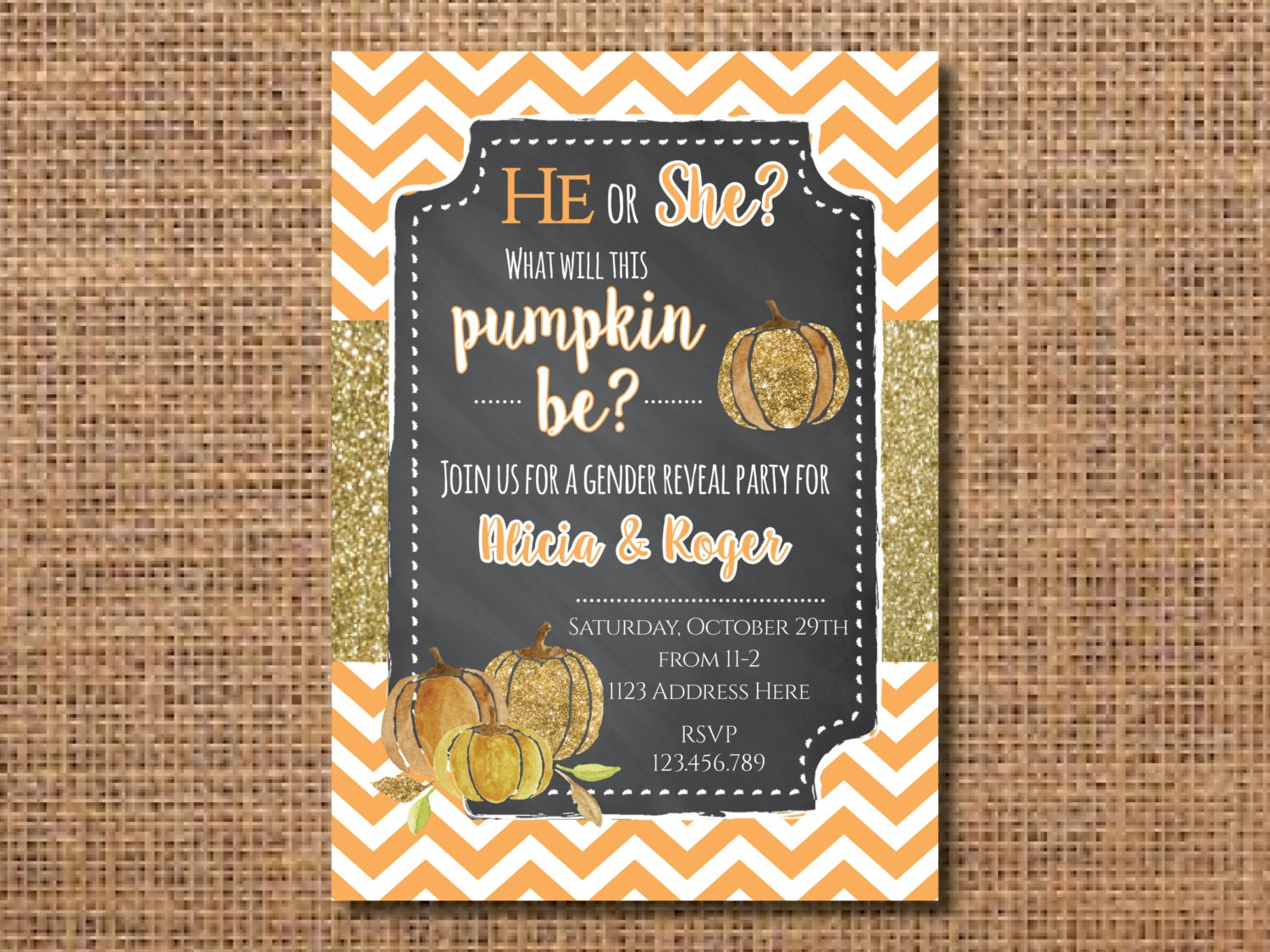 Gender Reveal Invitation Gender Reveal Party Invite Pumpkin – Baby Announcement Party