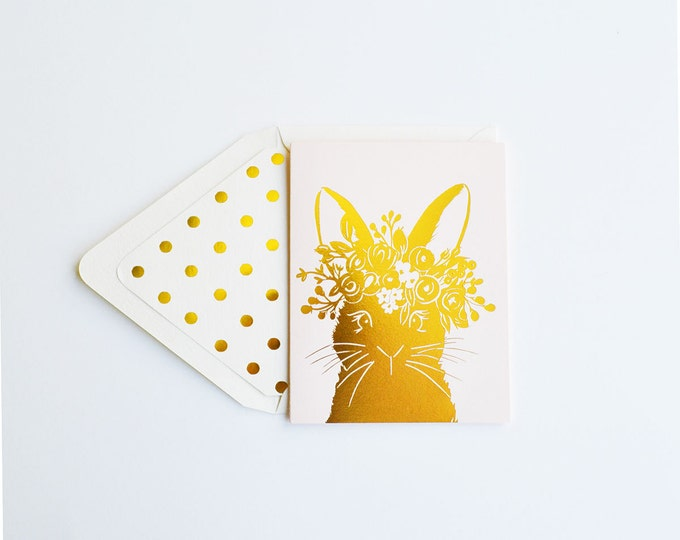 Gold Rabbit with wreath Card