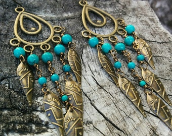 Antique Bronze and Turquoise Chandelier Earrings