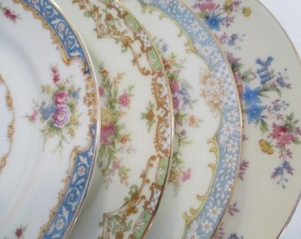 Vintage Mismatched China Dessert / Bread Butter Plates for Tea Parties, Bridal Luncheons, Showers, Hostess Gift, Bridesmaid Gift-Set of 4