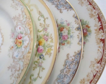 Vintage Mismatched China Dessert/Bread Butter Plates for Tea Party,Weddings,Bridal Luncheons,Showers,Hostess Gift,Bridesmaid Gift-Set of 4