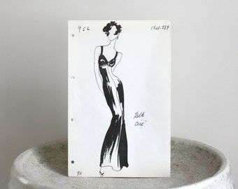 Mid Century Yves St. Laurent Fashion Stat Sheet c. 1960s 8 1/2 x 13 inches