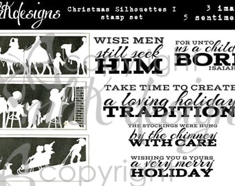 Christmas Silhouettes I Digital Stamp Set