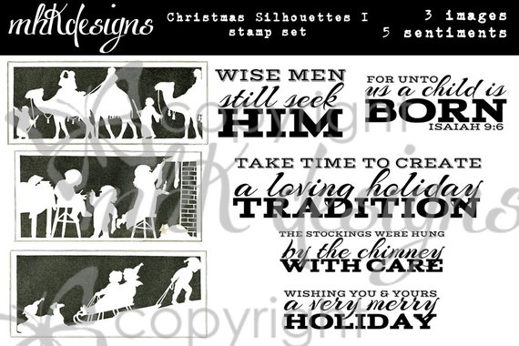 Christmas Silhouettes I Digital Stamp Set