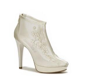 Wedding shoes, Handmade FRENCH GUIPURE Lace wedding ivory shoe #8438