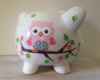 Personalized Hand Painted Piggy Bank With Owl Theme