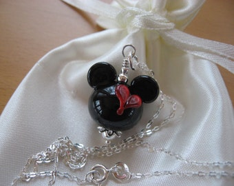 Mickey Mouse Heart Necklace, Mickey Valentine's Day Necklace, Minnie Valentine Necklace, Love Necklace, Disney Necklace, Handmade Lampwork