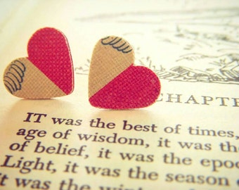 A Tale of Two Cities Earrings, Upcycled Book Cover Earrings, Stud Earrings, Book Nerd Earrings, Heart Earrings, Book Earrings