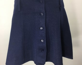 1970s Vintage Navy Blue Soft Knit Mini Skirt with Buttons/Wide Belt Loops