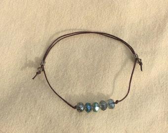 Swarovski Labradorite AB Crystal Beads Waxed Brown Linen Cord Bracelet Anklet