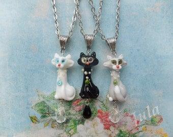 Cat, Pendant cat, Jewelry cat, Lampwork cat